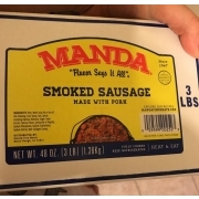 Manda Smoked Sausage Made With Pork Calories Nutrition Analysis More Fooducate